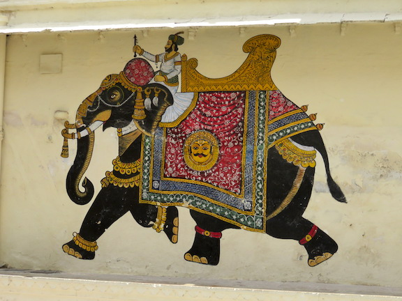 Wall painting in City Palace, Udaipur