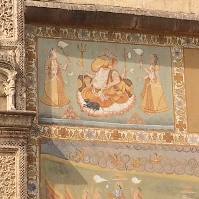 Detail of wall painting at Mehrangarh Fort