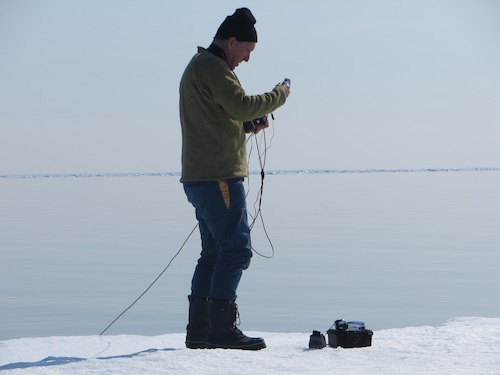 Mark setting up the hydrophone