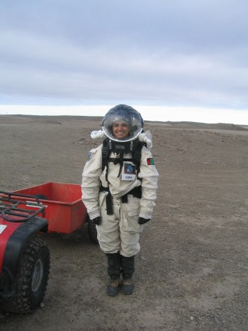 Space-suited Tiffany on Devon Island